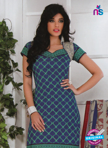 NS10585 Blue and Green Casual Cotton Print Suit