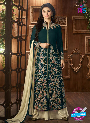 AZ 3368 Sea Green and Beige Embroidered Semi Georgette Party Wear Suit