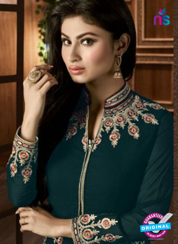 AZ 3368 Sea Green and Beige Embroidered Semi Georgette Party Wear Suit Online