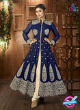 AZ 3369 Blue and Beige Embroidered Semi Georgette Party Wear Suit