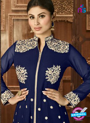 AZ 3369 Blue and Beige Embroidered Semi Georgette Party Wear Suit Online