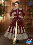 AZ 3370 Brown and beige Embroidered Semi Georgette Party Wear Suit