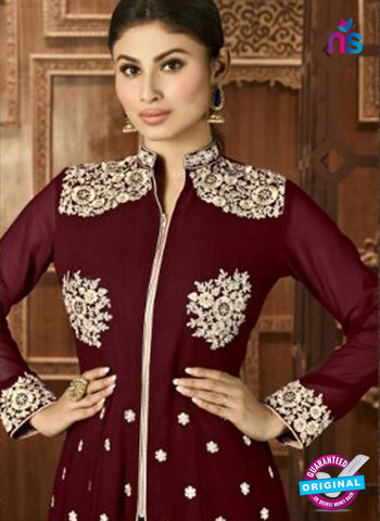 AZ 3370 Brown and beige Embroidered Semi Georgette Party Wear Suit Online