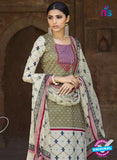 Omtex 1202 A Magenta, Beige and Mehandi Green Lawn Cotton Plazzo Suit Online