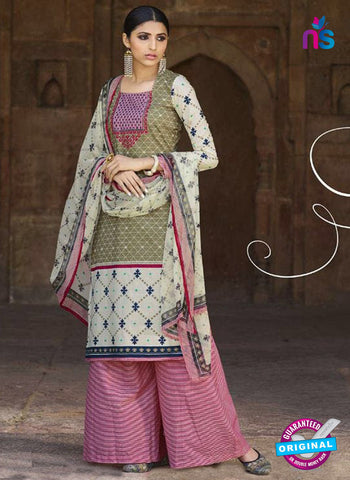 Omtex 1202 A Magenta, Beige and Mehandi Green Lawn Cotton Plazzo Suit