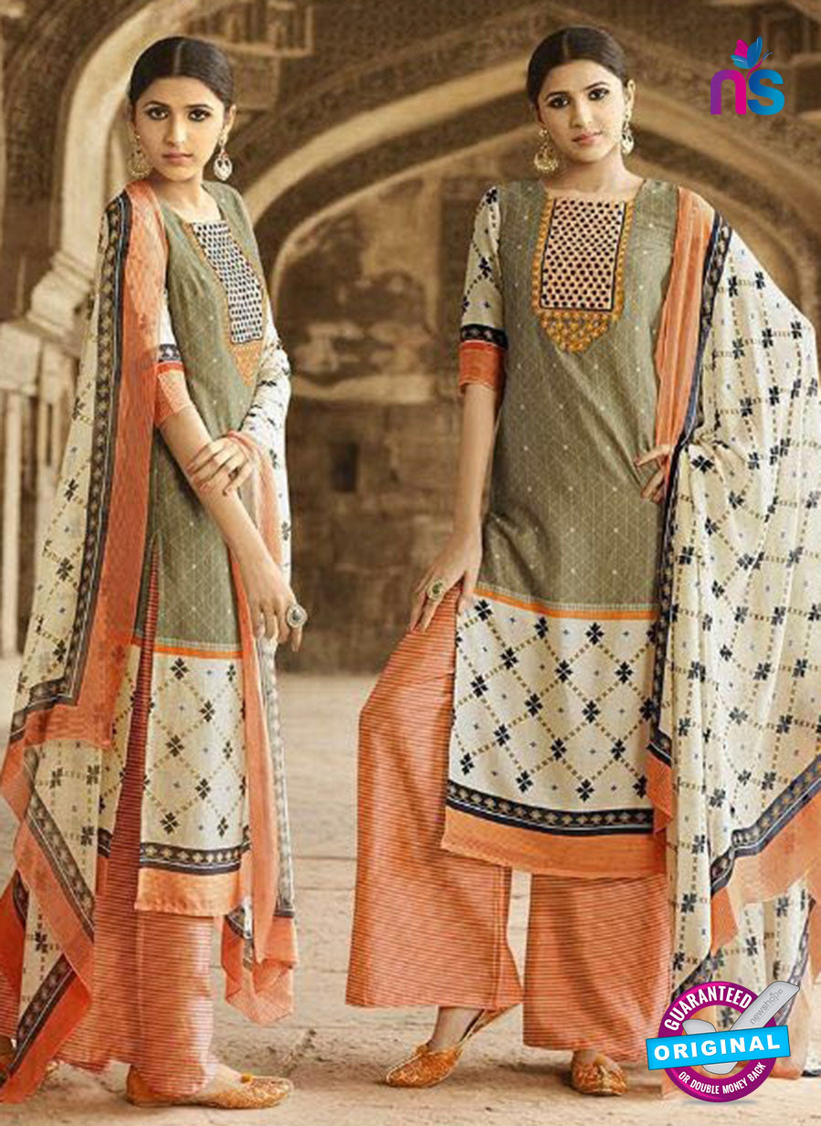 Omtex 1202 B Beige and Orange Lawn Cotton Plazzo Suit