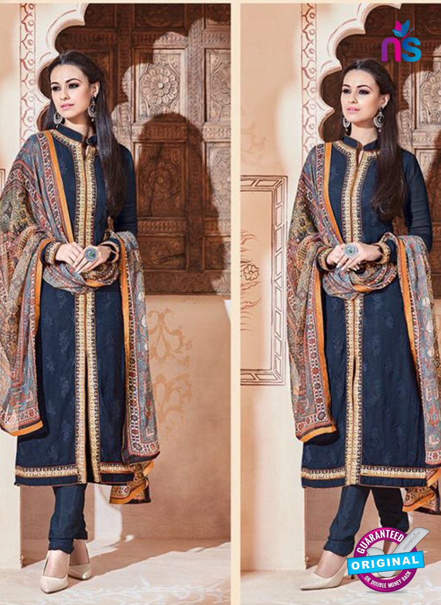 SC 13265 Dark Blue Embroidered Georgette Party Wear Designer Suit