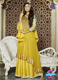 SC 13313 Yellow and Golden Heavy Net Party Wear Designer Anarkali Suit