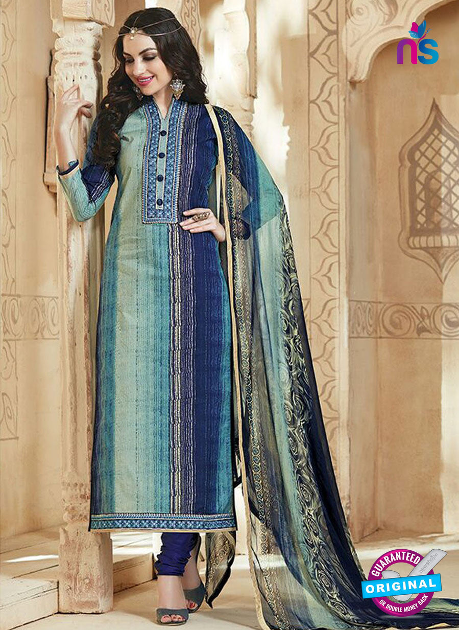 SC 13542 Blue And Multicolor Cambric Cotton Embroiderd Party Wear Un Stitiched Fancy Long Straight Suit