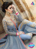AZ 1040 Georgette Embroidery Blue Gawn - Gawns - NEW SHOP