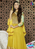 NS11091 Yellow and Golden Heavy Net Party Wear Designer Suit