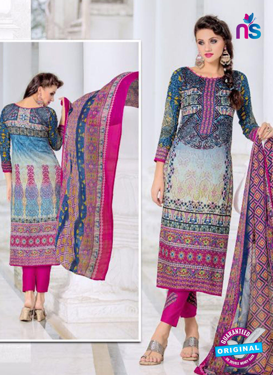 SC 14014 Blue and Pink Exclusive Fancy Functional Wear Straight Plazo Suit