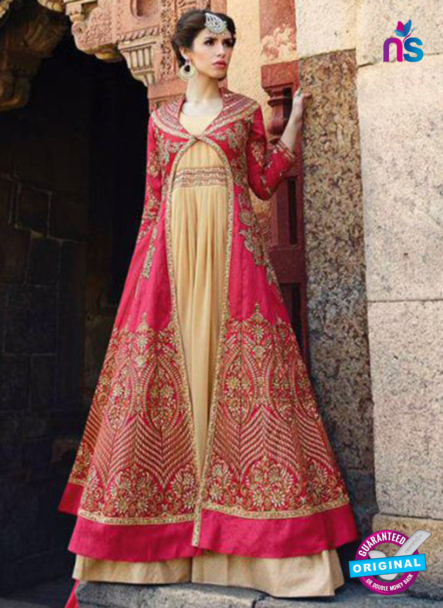 Glossy 1203 Georgette Embroidery Pink and Beige Suit Online