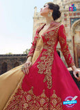 Buy Glossy 1203 Georgette Embroidery Pink and Beige Suit Online