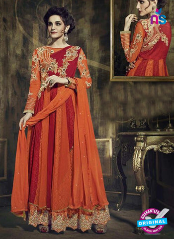 Fiona 12031 Orange and Maroon Georgette Anarkali Suit