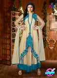 AZ 3517 Beige and Sky Blue Anarkali Suit - Anarkali Suits - NEW SHOP