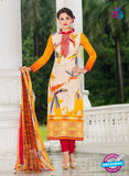 SC 14022 White and Yellow Exclusive Fancy Functional Wear Straight Suit