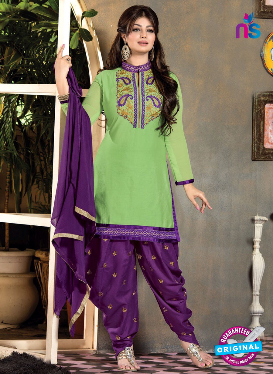 NS10168 Green and Purple Patiyala Suit