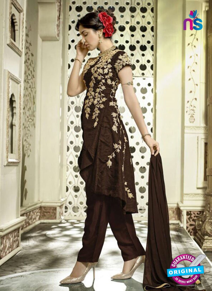 SC 13314 Brown and Beige Banglori Silk Designer Suit