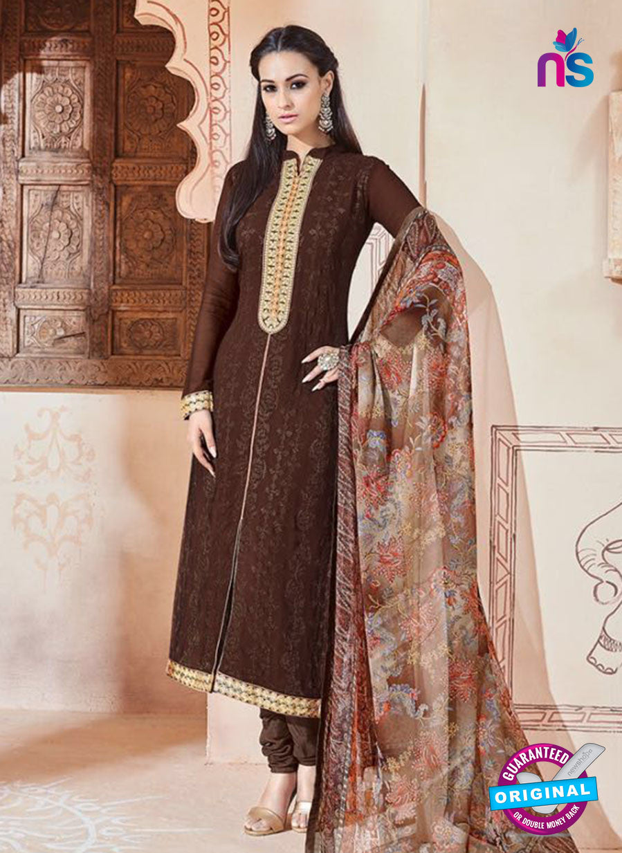 SC 13263 Brown Embroidered Georgette Party Wear Designer Suit