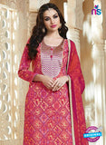 SC 13543 Pink And Beige Cambric Cotton Embroiderd Party Wear Un Stitiched Fancy Long Straight Suit