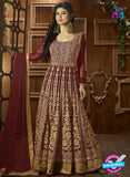 AZ 3867 Maroon Semi Georgette Anarkali Suit
