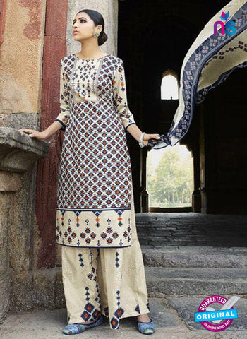 Omtex 1204 A Blue, Orange and Beige Lawn Cotton Plazzo Suit