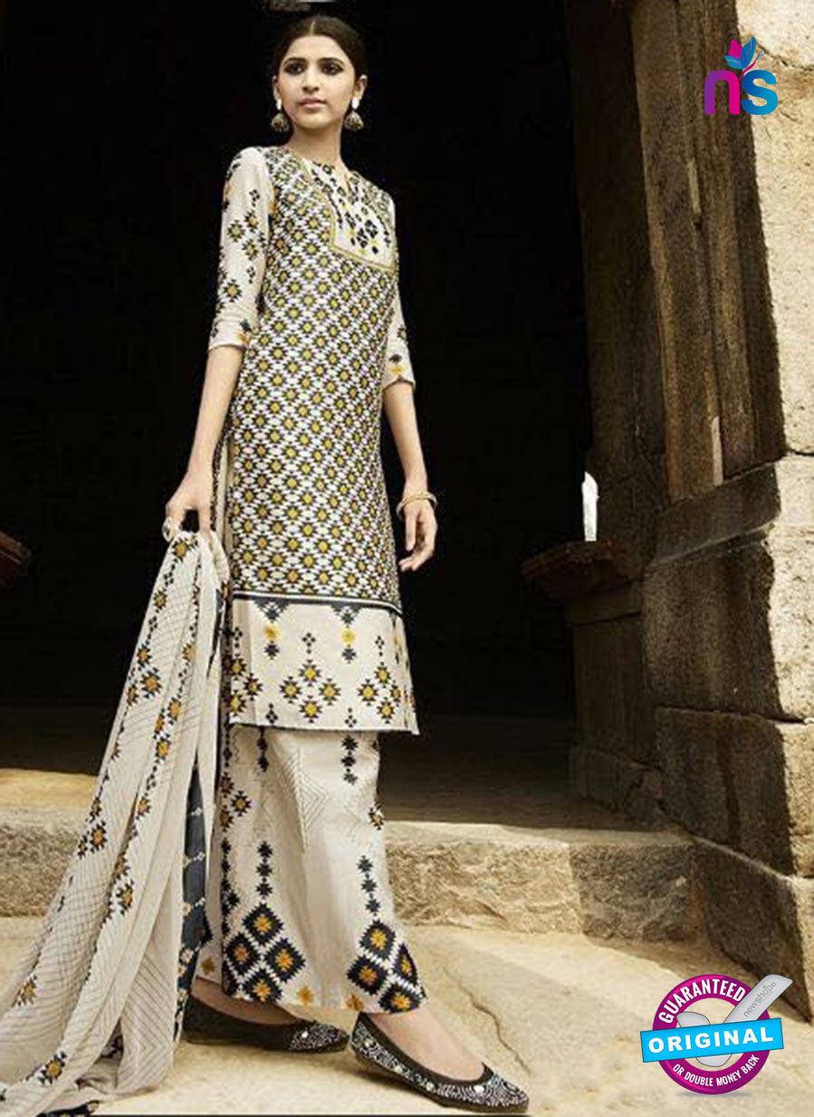 Omtex 1204 B Yellow, Black and Beige Lawn Cotton Plazzo Suit