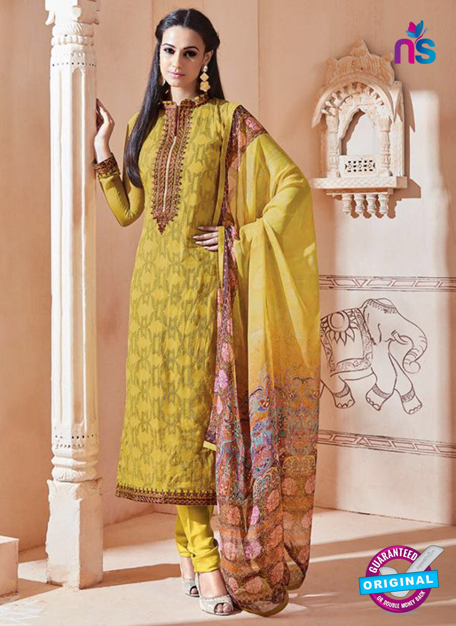 SC 13264 Yellow Embroidered Georgette Party Wear Designer Suit