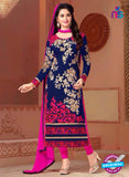 SC 12562 Blue and Pink Embroidered Georgette Party Wear Designer Suit