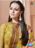SC 13264 Yellow Embroidered Georgette Party Wear Designer Suit Online
