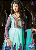 NS12056 Sea Blue and purple Anarkali Suit