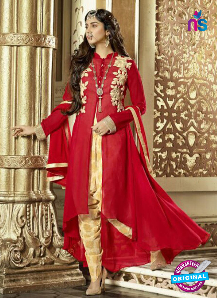 SC 13316 Red and Beige Faux Georgette Designer Suit
