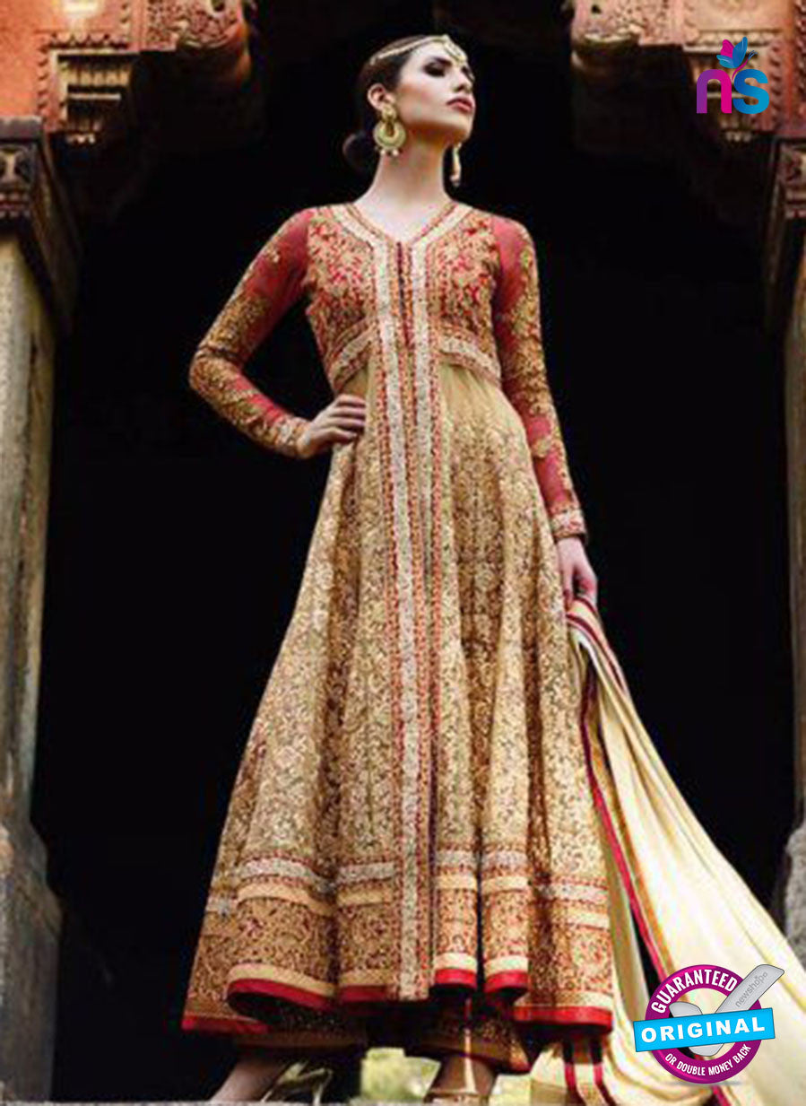 AZ 1043 Georgette Embroidery Beige and Red Suit