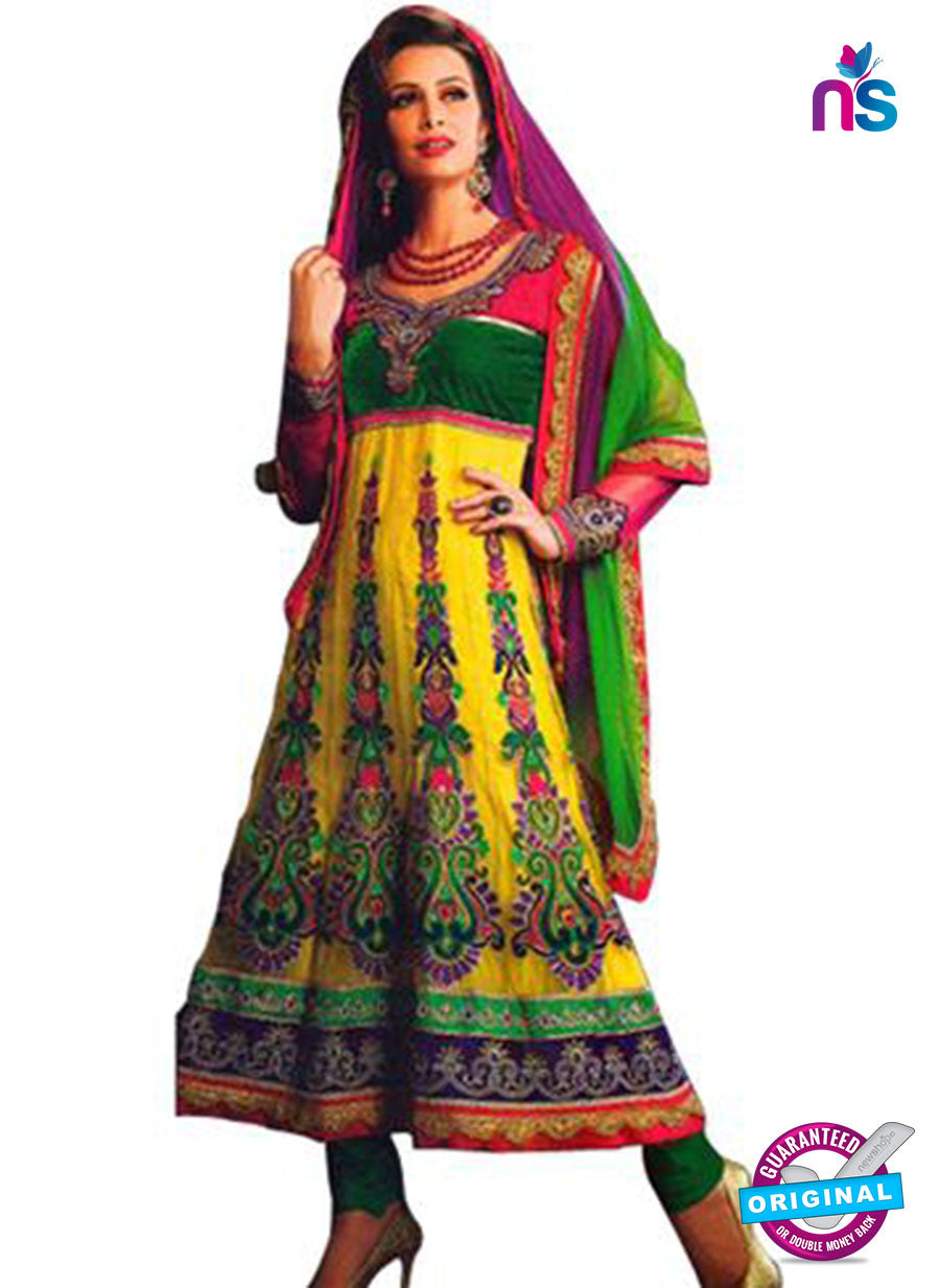 NS12057 Yellow and Green Anarkali Suit