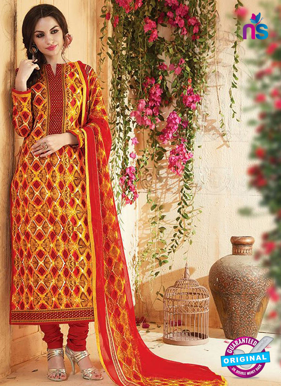 SC 13545 Multicolor Cambric Cotton Embroiderd Party Wear Un Stitiched Fancy Long Straight Suit