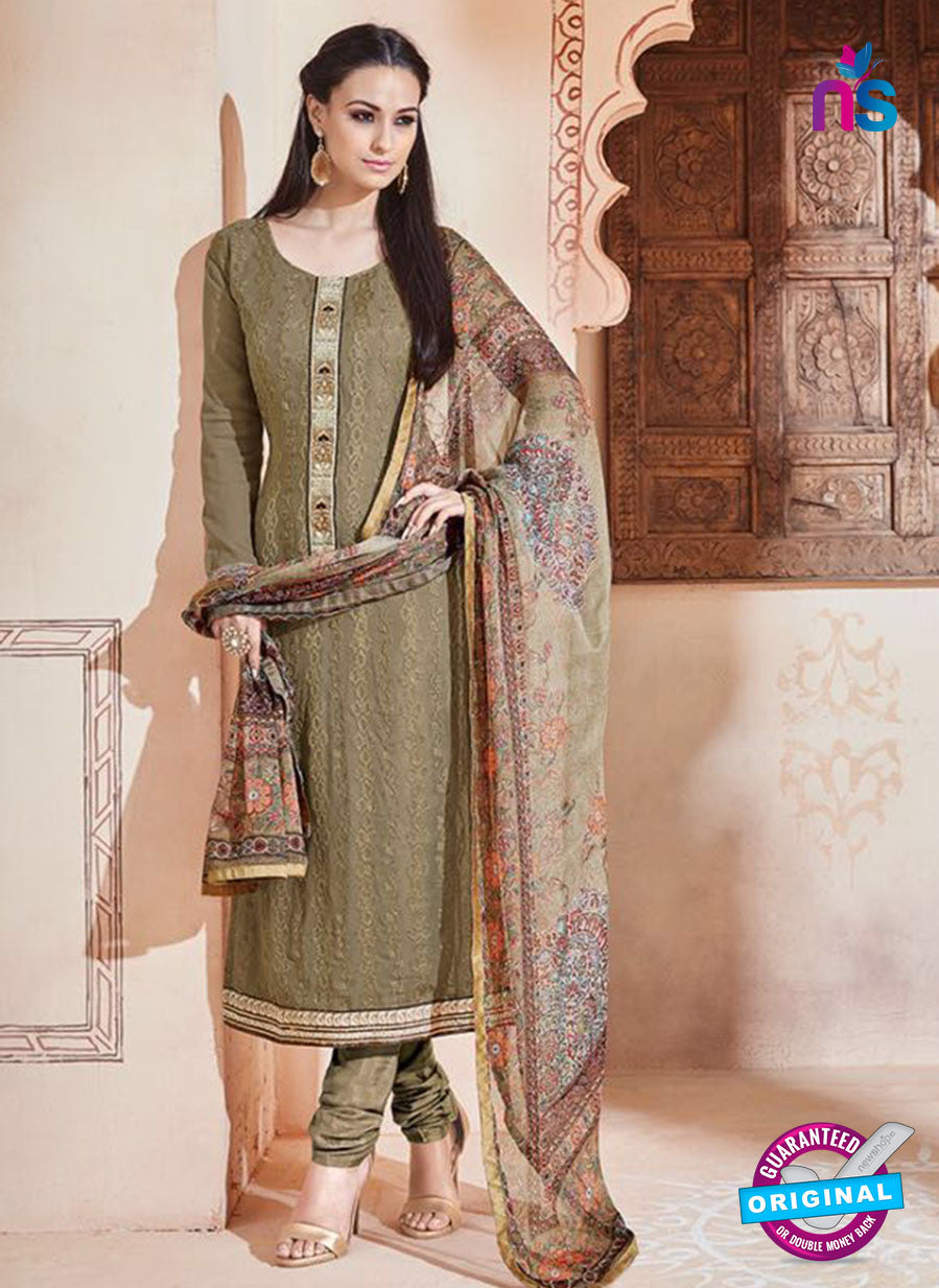 SC 13262 Beige Embroidered Georgette Party Wear Designer Suit