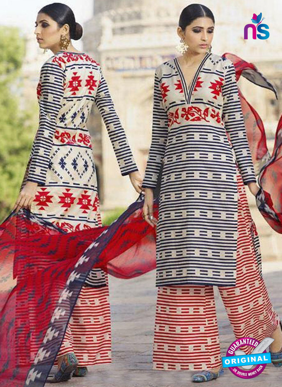 Omtex 1206 B Red, Blue and Beige Lawn Cotton Plazzo Suit