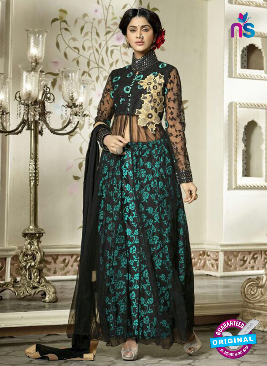 NS11095 Black and Bue Net Party Wear Boutique Suit