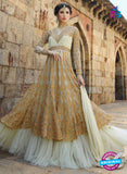 AZ 1044 Georgette Embroidery Beige and White Anarkali Suit