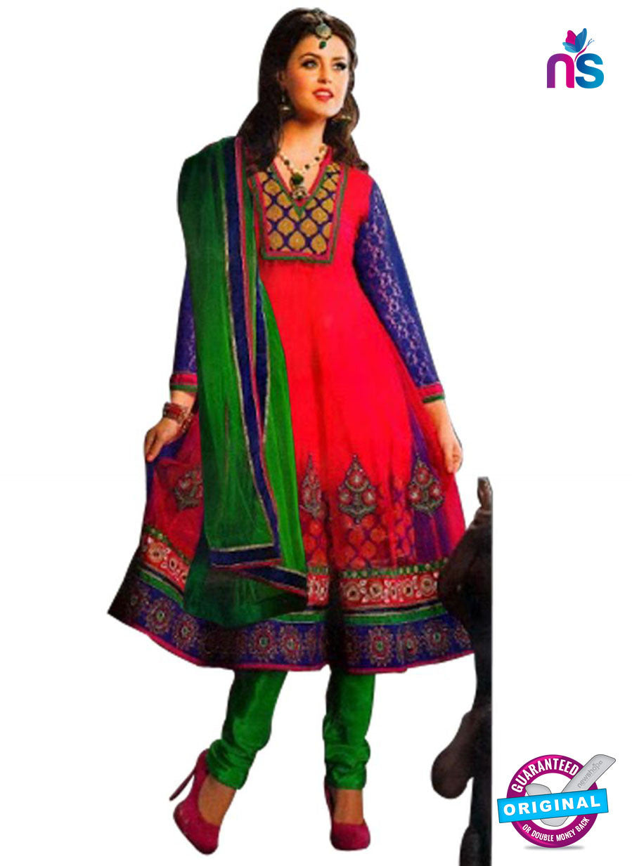 NS12058 Pink and Green Anarkali Suit