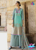 Omtex 1207 B Sea Green and Pink Lawn Cotton Plazzo Suit