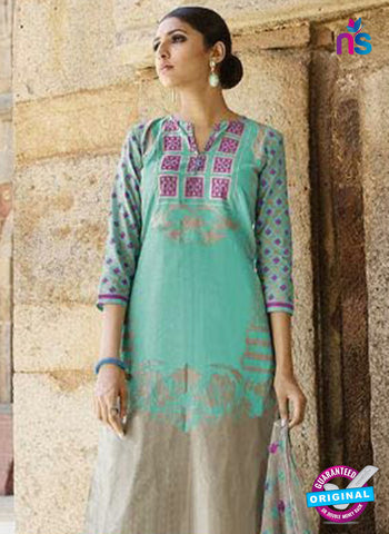 Omtex 1207 B Sea Green and Pink Lawn Cotton Plazzo Suit Online