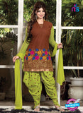 NS10169  Brown and Green Patiyala Suit