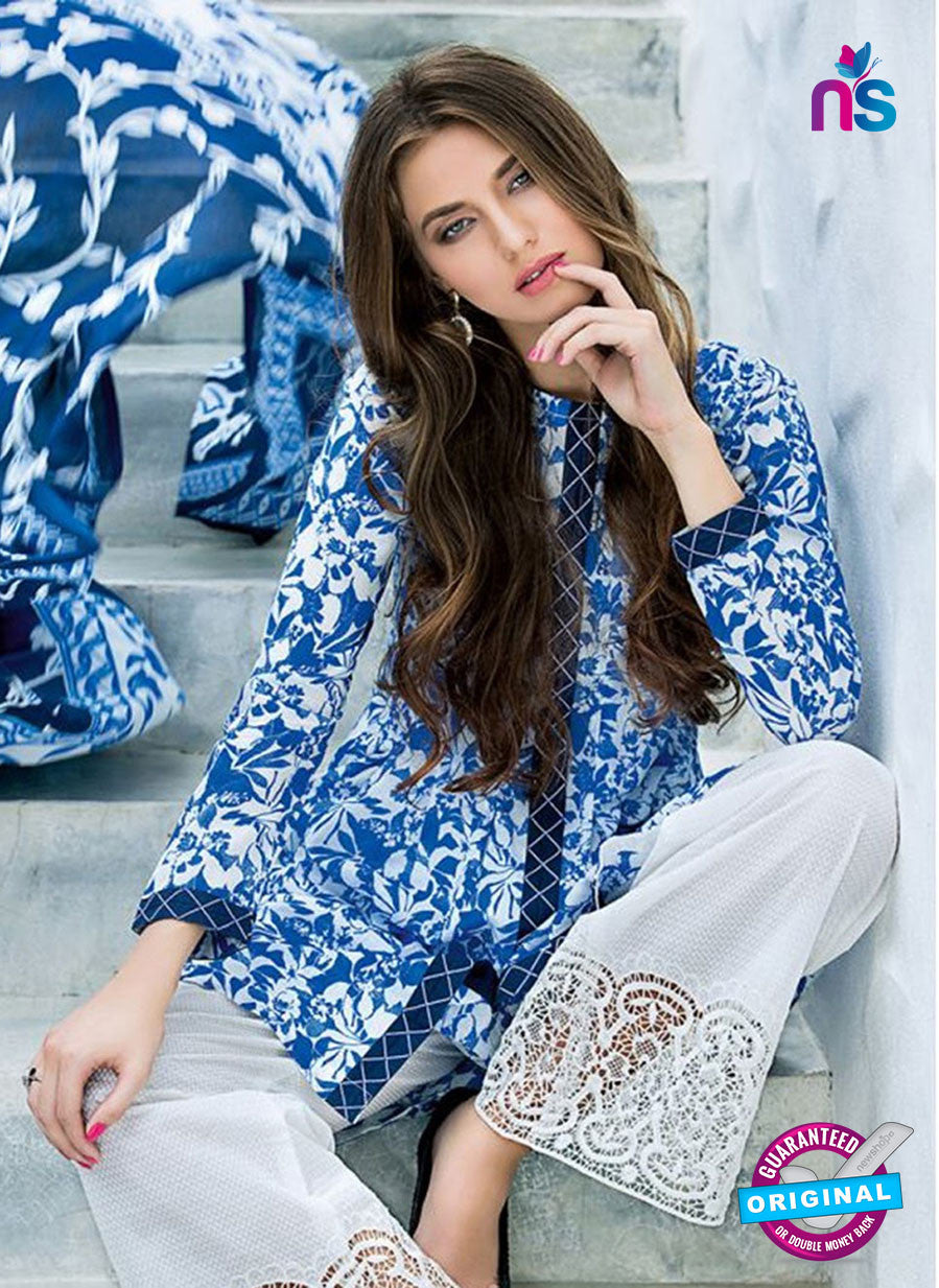 SC 12733 Blue and White Printed Cambric Cotton Designer Suit