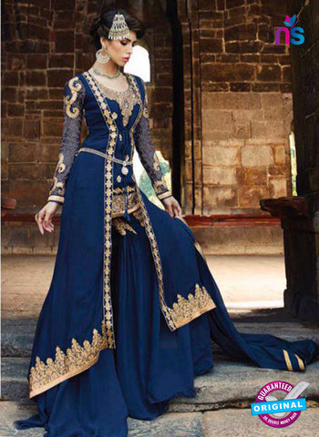 Glossy 1208 Georgette Embroidery Blue Suit