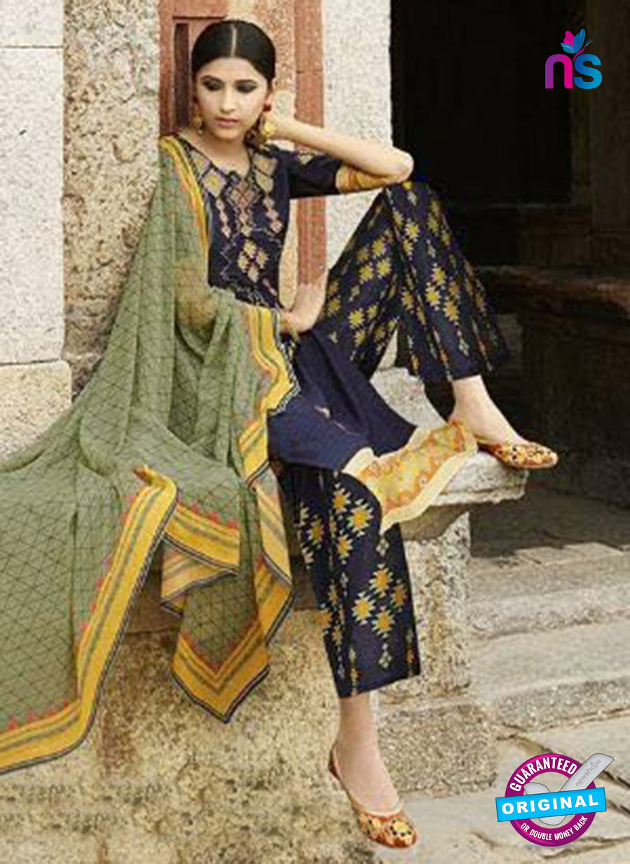 Omtex 1208 B Blue and Yellow Lawn Cotton Plazzo Suit