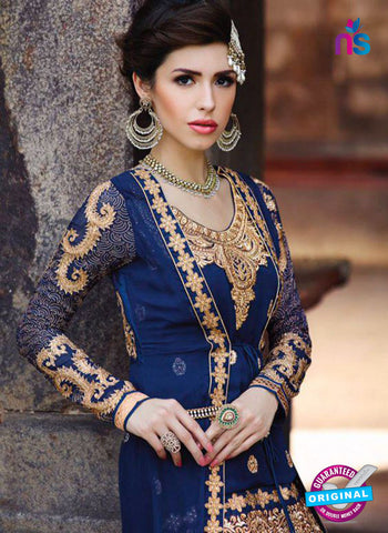 Buy Glossy 1208 Georgette Embroidery Blue Suit Online