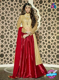 SC 13317 Golden and Red Heavy Net Party Wear Designer Lehenga