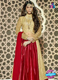 NS11096 Golden and Red Heavy Net Party Wear Designer Lehenga